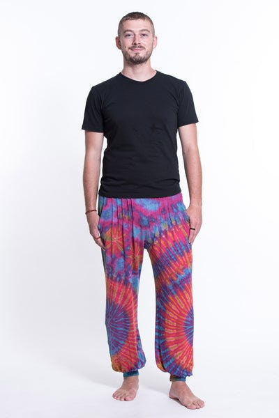 Tie Dye Cotton Men Harem Pants in Pink
