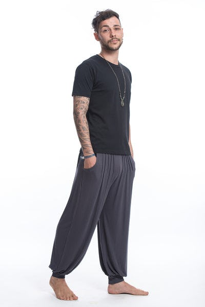 Cotton Men Harem Pants in Solid Gray