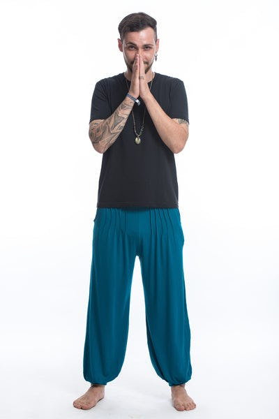 Cotton Men Harem Pants in Solid Blue