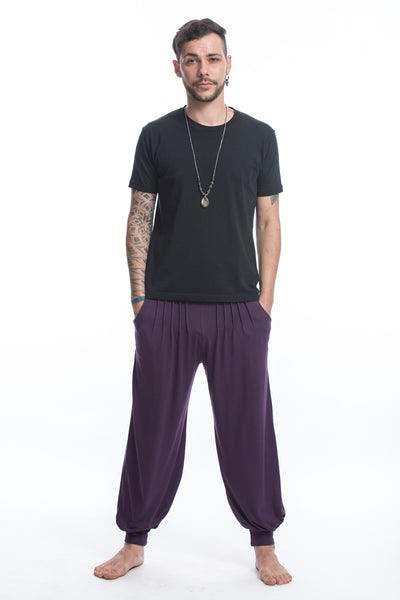 Cotton Men Harem Pants in Solid Purple