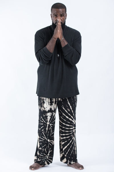 Plus Size Tie Dye Cotton Men Harem Pants in Black and White