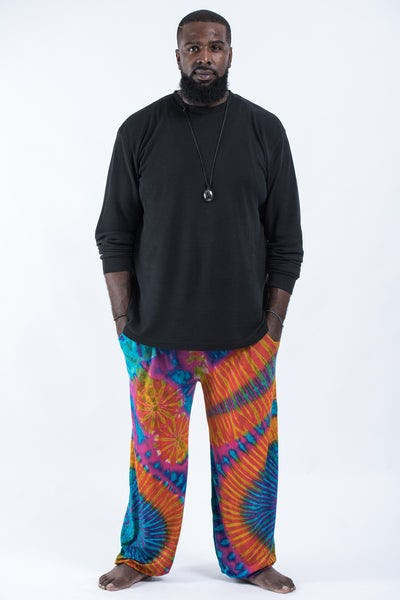Plus Size Tie Dye Cotton Men Harem Pants in Blue Orange