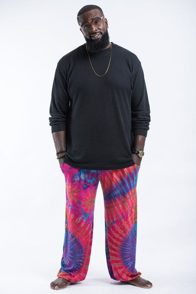 Plus Size Tie Dye Cotton Men Harem Pants in Pink