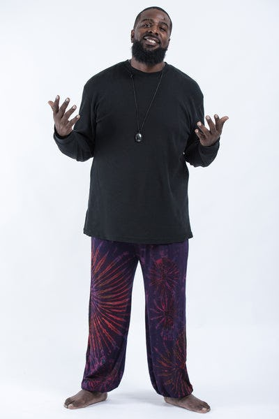 Plus Size Tie Dye Cotton Men Harem Pants in Purple