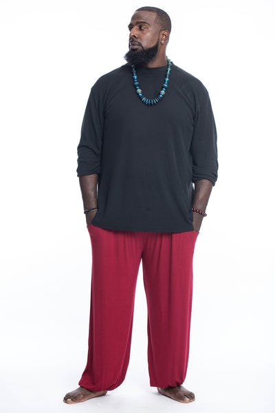 Plus Size Cotton Men Harem Pants in Solid Red