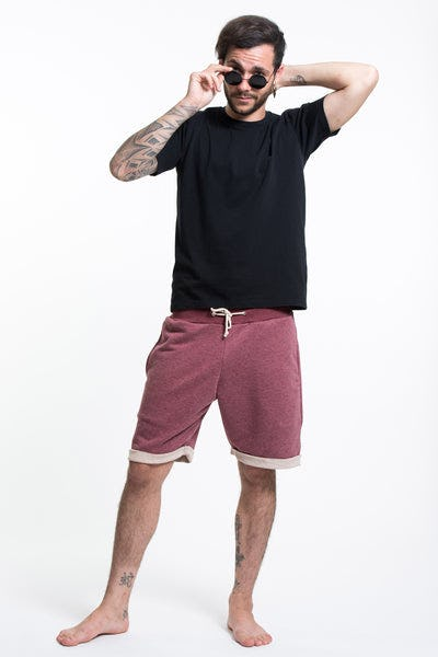 Men's Terry Shorts with Aztec Pockets in Red