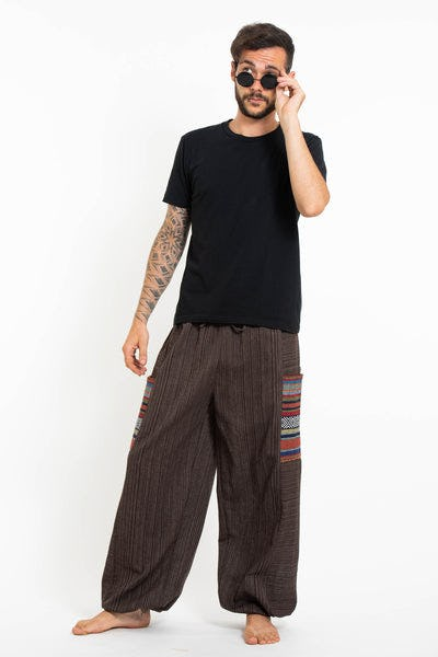 Men's Drawstring Pinstripes Cotton Pants with Aztec Pocket in Brown