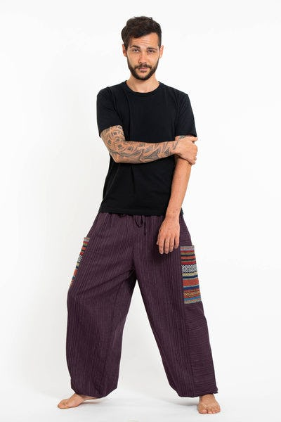Men's Drawstring Pinstripes Cotton Pants with Aztec Pocket in Purple