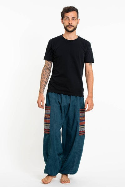 Men's Drawstring Pinstripes Cotton Pants with Aztec Pocket in Turquoise