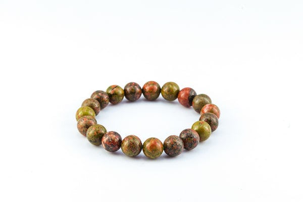 Mala Lucky Stone Hand Made Bracelet Elastic With Unakite
