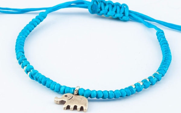 Fair Trade Thai Hill Tribe Silver Charm Waxed Cotton Bracelet Turquoise Elephant