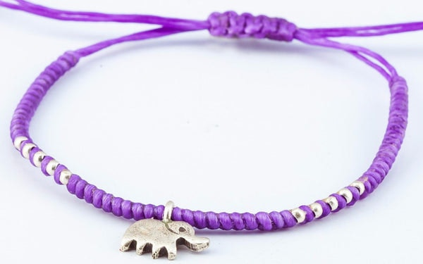 Fair Trade Thai Hill Tribe Silver Charm Waxed Cotton Bracelet Purple Elephant