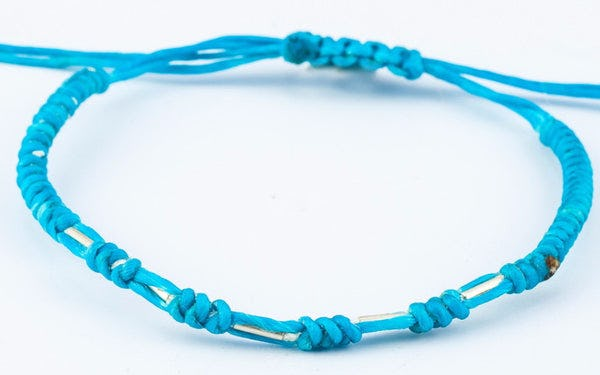 Fair Trade Thai Hill Tribe Silver Beaded Wax Cotton Bracelet Turquoise