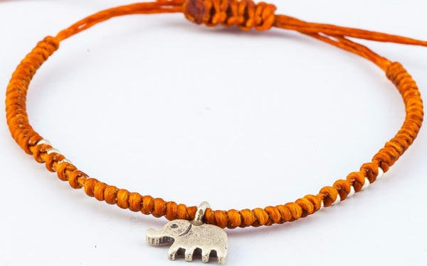Fair Trade Thai Hill Tribe Silver Charm Waxed Cotton Bracelet Rust Elephant