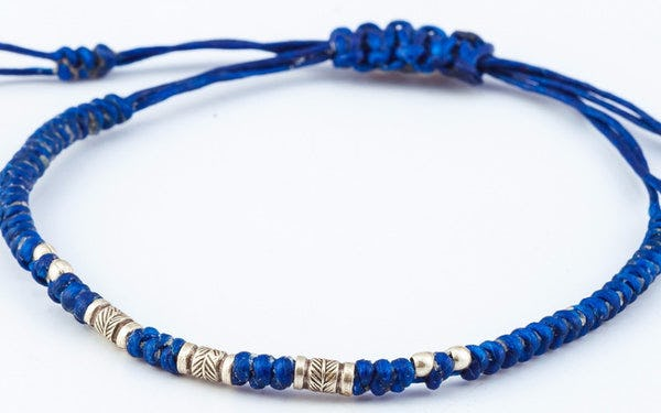 Fair Trade Thai Hill Tribe Silver Bead Waxed Cotton Bracelet Blue