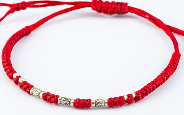 Fair Trade Thai Hill Tribe Silver Bead Waxed Cotton Bracelet Red