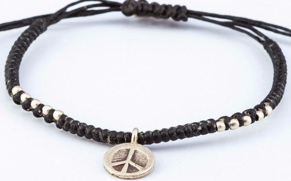 Fair Trade Thai Hill Tribe Silver Charm Waxed Cotton Bracelet Black Peace Sign