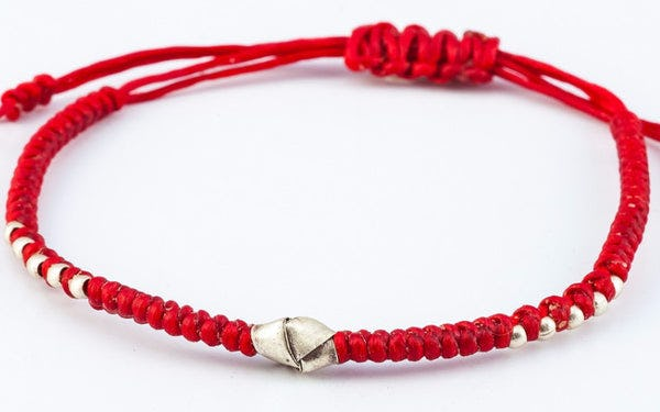 Fair Trade Thai Hill Tribe Silver Charm Waxed Cotton Bracelet Red Knot