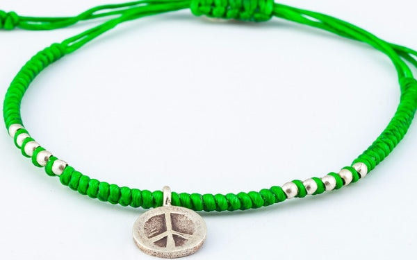 Fair Trade Thai Hill Tribe Silver Charm Waxed Cotton Bracelet Lime Peace Sign