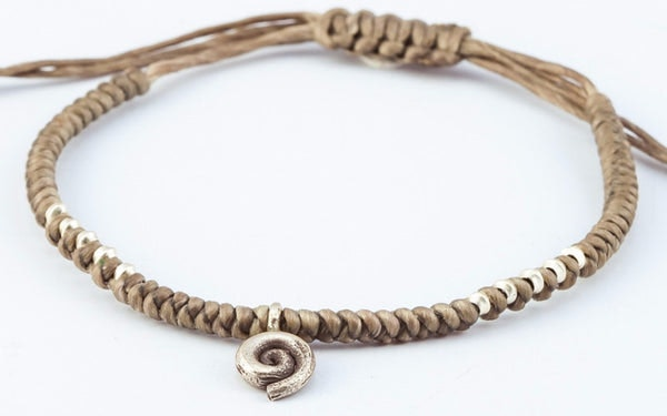 Fair Trade Thai Hill Tribe Silver Charm Waxed Cotton Bracelet Gray Swirl