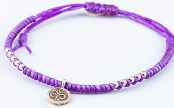 Fair Trade Thai Hill Tribe Silver Charm Waxed Cotton Bracelet Purple Ohm