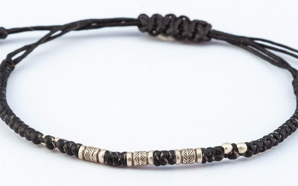 Fair Trade Thai Hill Tribe Silver  Beaded Waxed Cotton Bracelet Black