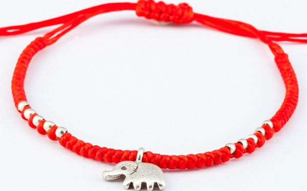 Fair Trade Thai Hill Tribe Silver Charm Waxed Cotton Bracelet Red Elephant