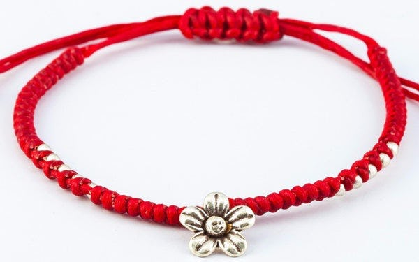 Fair Trade Thai Hill Tribe Silver Charm Waxed Cotton Bracelet Red Flower