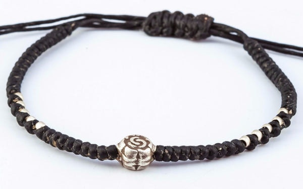 Fair Trade Thai Hill Tribe Silver Charm Waxed Cotton Bracelet Black Flower