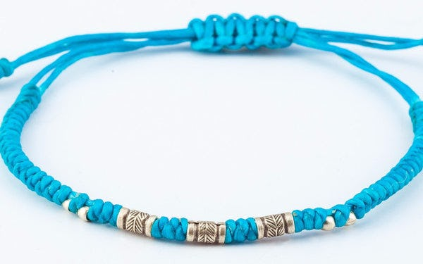 Fair Trade Thai Hill Tribe Silver Bead Waxed Cotton Bracelet Turquoise