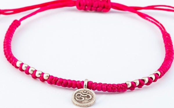 Fair Trade Thai Hill Tribe Silver Charm Waxed Cotton Bracelet Magenta Ohm