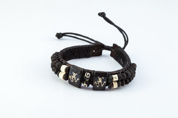 Fair Trade Hand Made  Leather Bracelet Tibeten Om Beads