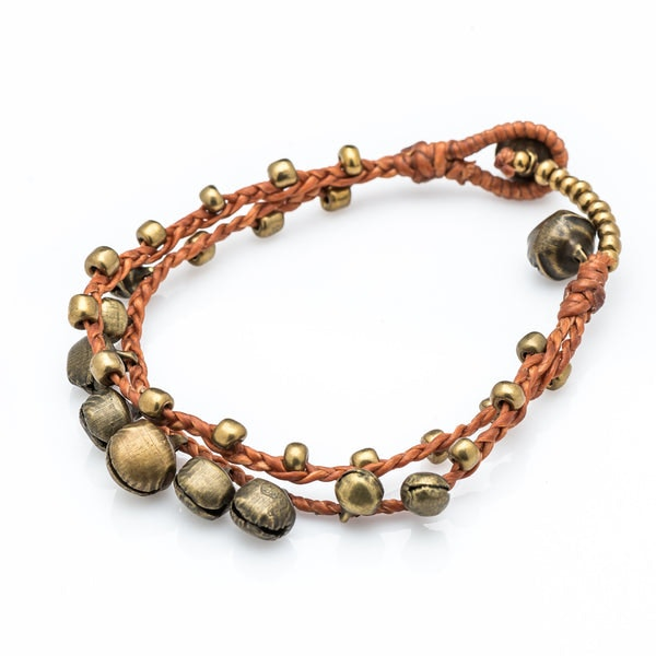 Brass Bell Waxed Cotton Bracelets in Copper