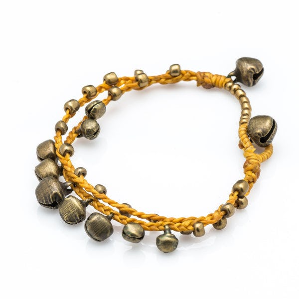 Brass Bell Waxed Cotton Bracelets in Gold