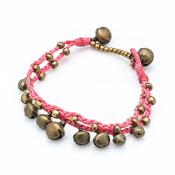 Brass Bell Waxed Cotton Bracelets in Pink