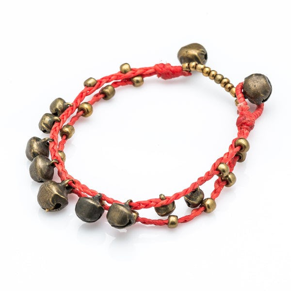 Brass Bell Waxed Cotton Bracelets in Red