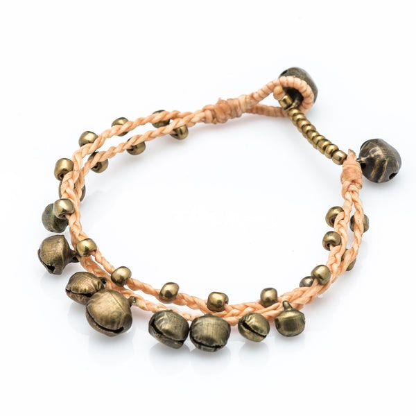 Brass Bell Waxed Cotton Bracelets in Tan