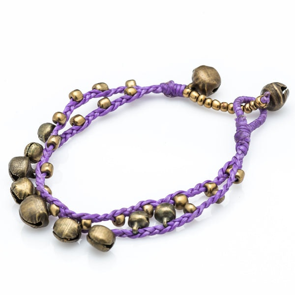 Brass Bell Waxed Cotton Bracelets in Violet