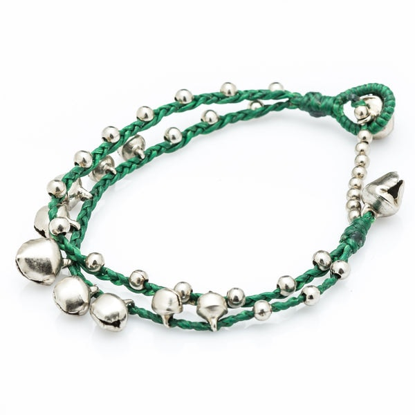 silver color bell waxed cotton bracelets in green harem