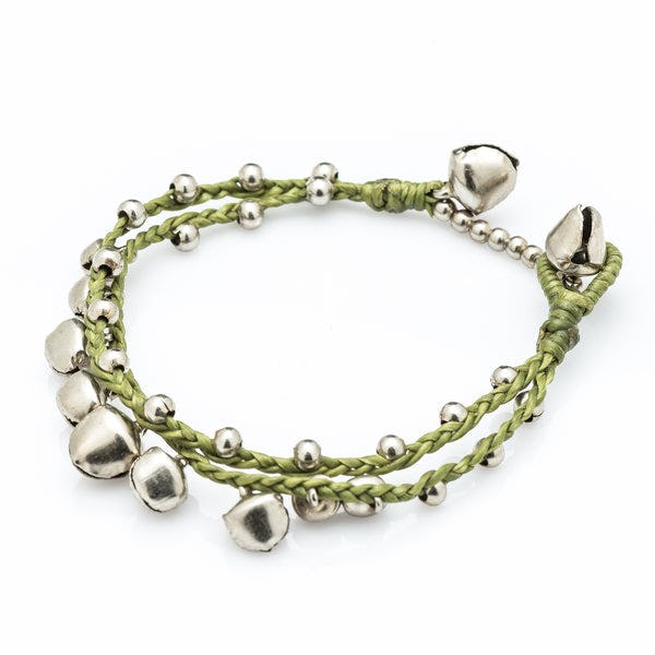 Silver Color Bell Waxed Cotton Bracelets in Lime