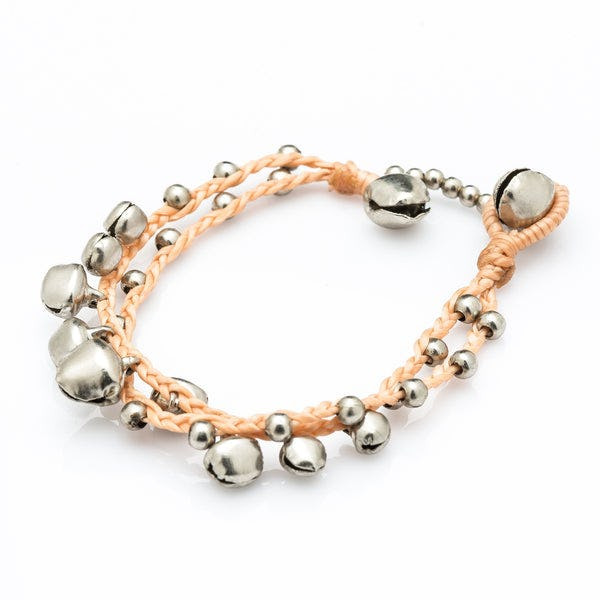 Silver Color Bell Waxed Cotton Bracelets in Tan