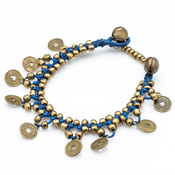 Chinese Coin Waxed Cotton Bracelets in Blue
