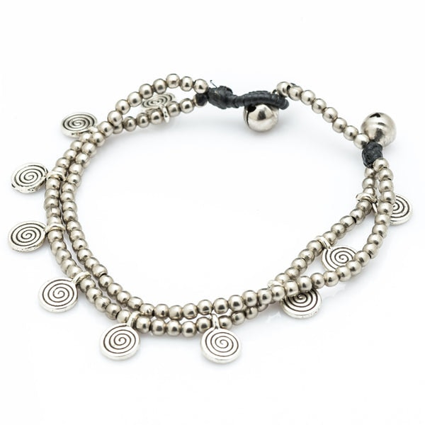 Hill Tribe Silver Bead And Swirl Charm Bracelets