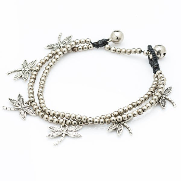 Hill Tribe Silver Bead And DragonFly Charm Bracelets
