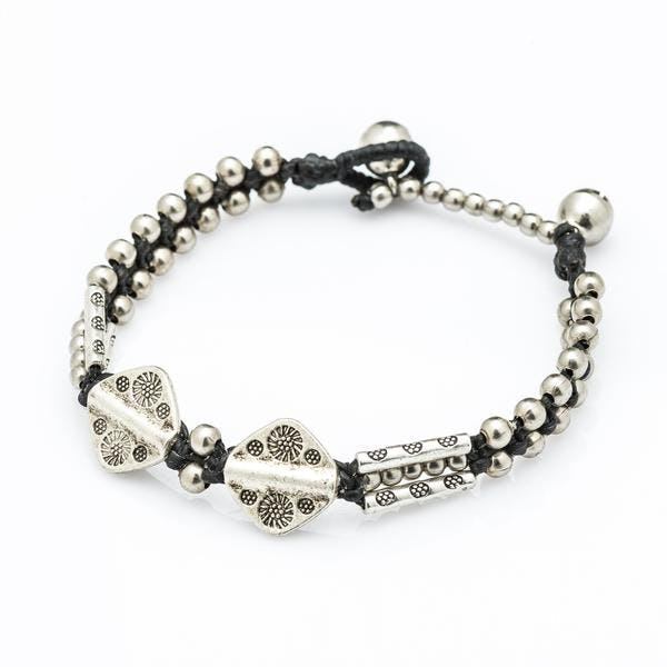 Hill Tribe Silver Bead And Aztec Charm Bracelets