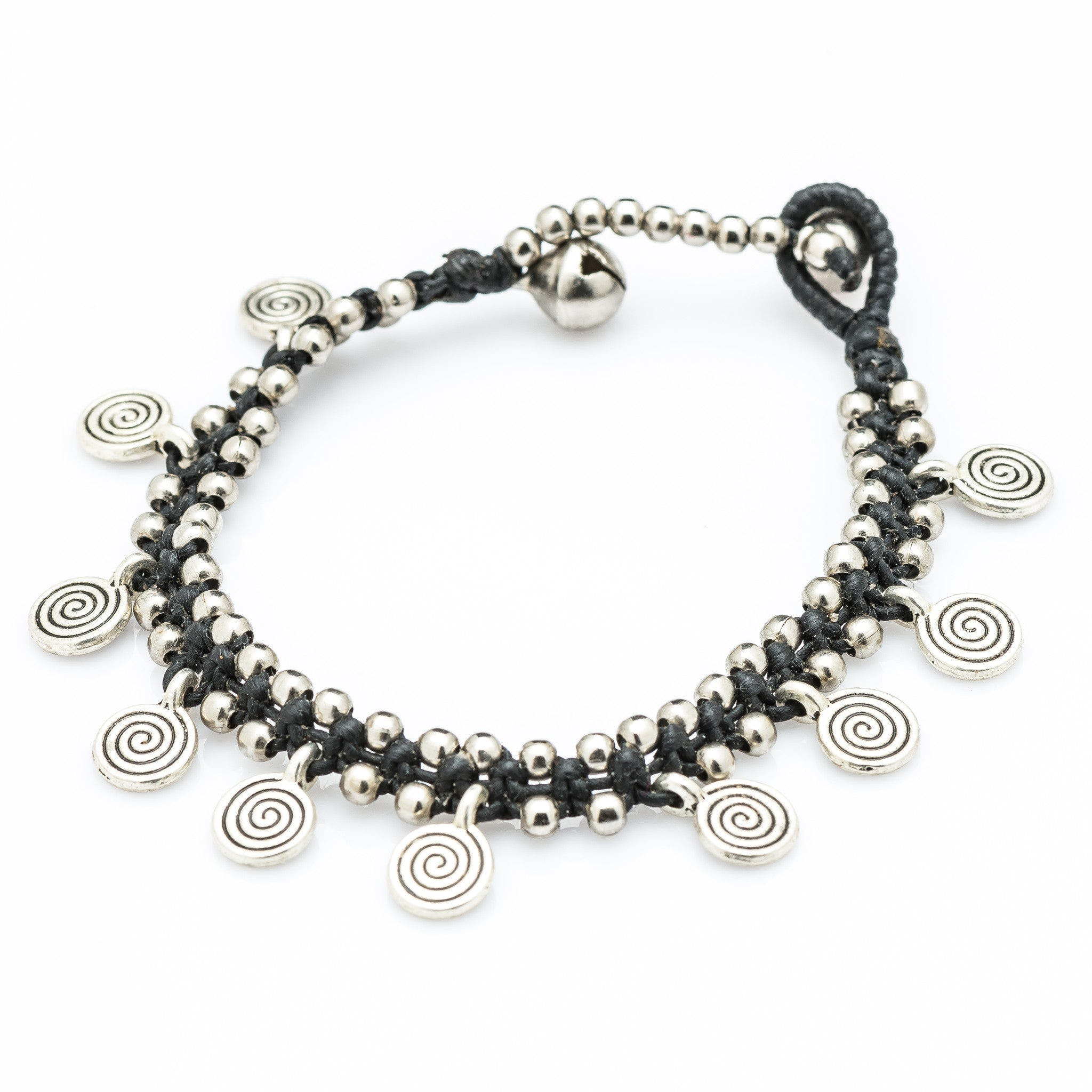 Hill Tribe Silver Bead And Large Swirl Charm Bracelets