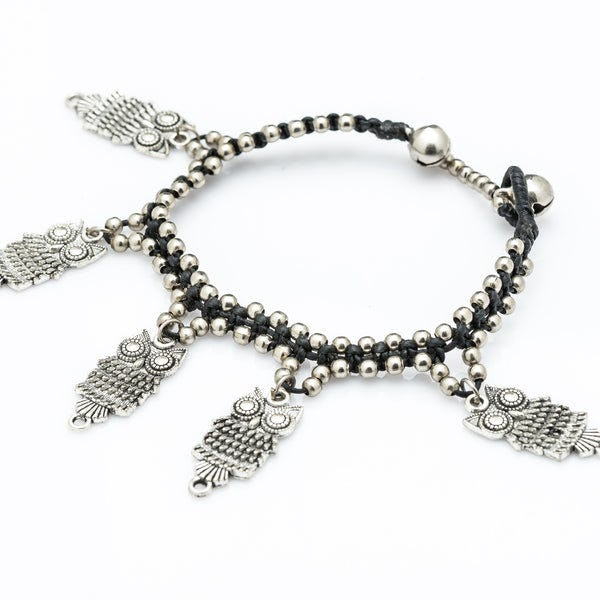 Hill Tribe Silver Bead And Owls Charm Bracelets