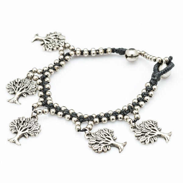 Hill Tribe Silver Bead And Tree Of Life Charm Bracelets
