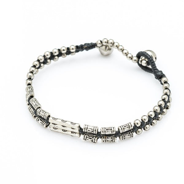 Hill Tribe Silver Bead And Long Bamboo Charm Bracelets