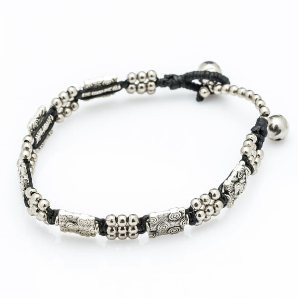 Hill Tribe Silver Bead And Tribal Block Charm Bracelets